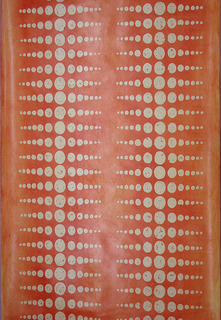 Two columns of scaled dots in pale yellow printed against a background which shades from light to dark orange.  The largest dot is printed against the darkest orange. This is the cantaloupe colorway.