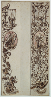 Two vertical bands with candelabrum. At the center of each of a pink oval with figures. Above and below are putti.