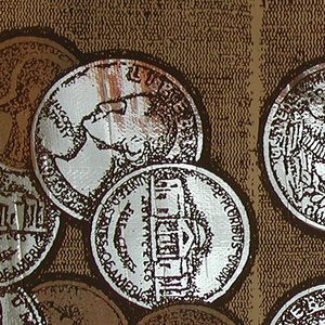 Motif of U.S. coins, printed over a running band of blocks.  All denominations of coins are shown.  The pennies are printed in a metallic copper ink, while the other coins allow the Mylar foil ground to show through.  The border is printed 2 across.