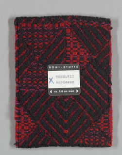 """Thirteen woven color swatches. See also record for 1974-63-2, a fabric called """"Thematic-Parquet"""", of which these are samples."""