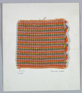 Plain weave with paired warps with every fifth weft in another 2/2 sequence. Warp is orange two-ply string. Weft is a repeating sequence of orange six-ply yarn, pink chenille, three rows of flat metallic gold paired with orange string, green six-ply yarn, green chenille, flat metallic silver paired with wrapped metallic silver. Four plain weave on paired warp. Five weft in another 2/2 sequence.
