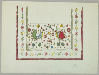 Design with two colorful chickens surrounded by colorful asterisks and flowers.