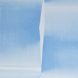 Large-scale 3-D looking design of folded paper.  Each width is composed of two columns.  Printed in blue on a white ground.
