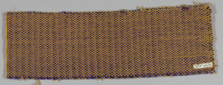 Firm fabric with fairly heavy yarns. Wool warp: two dark purple alternating with two shades of light purple; weft: golden yellow mercerized cotton. Suggestion of warp stripe.