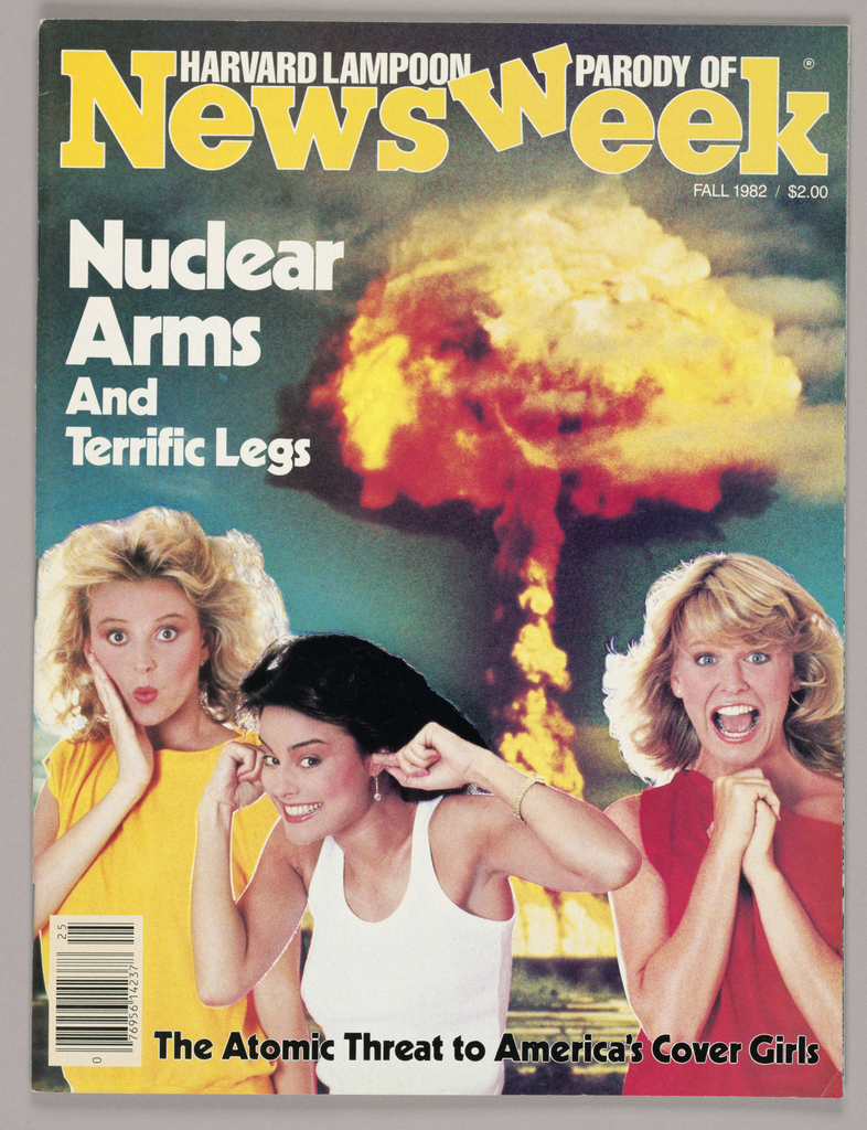 The design immediately signals parody in the magazine's cover title: the W of week in Newsweek, which is imprinted across the top in bold, gold-colored type, is askew. What might have been a legitimate concern of the real magazine, Newsweek, Inc., is satirized in the feature announced on the cover, Nuclear Arms and Terrific Legs, imprinted in bold white type, accompanied by a color photograph of three young women making silly faces, their hands in see-hear-and-speak-no evil poses.  A flaming ball, simulating an atomic explosion, is in the background. The Atomic Threat to America's Cover Girls is imprinted across, just above the bottom edge.   The fifty-four page publication consists of articles and color or black and white photographs or illustrations satirizing the actual magazine's content and format, interspersed with legitimate advertisements.