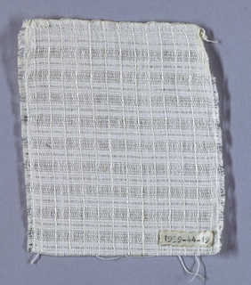 White sample with a striped pattern made by alternating areas of closely packed warps and more widely spaced warps. At regular intervals, a extra-heavy weft is inserted to give horizontal rib.