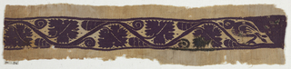 Inwoven tapestry band between areas of plain weave. leafy serpentine band with bird at one end.
