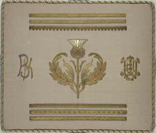 Six bands of metal, large thistle in center, initials K B on left and an emblem on right on olive silk.