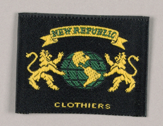 Spoofing heraldic design, the label features two smiling lions in profile, positioned left and right and facing each other while standing on their hind legs. Their front paws grasp a globe-shaped object displaying map-like shapes. A curved ribbon banner, imprinted New Republic, is unfurled across the top; Clothiers, imprinted across the bottom, completes the company name. The color scheme is buff, royal blue and black.