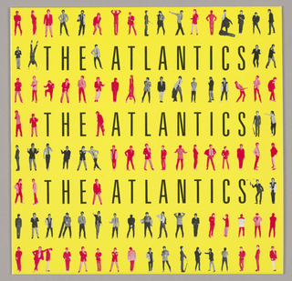 Recto: From the right to left edges, the five band members (see Verso below for details) are featured in an all over pattern of eight rows in various standing poses, imprinted in tones of red or black-and-white. The band's name, The Atlantics, is imprinted across in the second, fourth and sixth rows in sans serif type of the same height as the figures, which are displaced by the letters for the most part in those rows.   Verso: A sequence of five overlapping, black and white, partial head shot views, one of each band member, comprises the design. The subjects look directly at the viewer and are posed so that the facial components - eyes, noses, mouths, etc - are approximately on the same level. The musicians' names and functions are imprinted at different levels in red sans serif style capitals; from left to right, they are Paul Caruso/ Drums, Vocals; B. Wilkinson/ Bass Guitar, Vocals; Fred Pineau/ Lead Guitar; Tom Hauck/ Guitar, Vocals; and Bobby Marron/ Lead Vocals. Can't Wait Forever and Lonely Hearts, the album's two song titles, are imprinted respectively in the top and bottom quarters overlaying the second through fourth views.  Additional production credits are interspersed, and Design/ M&Co appears in the lower right hand corner.
