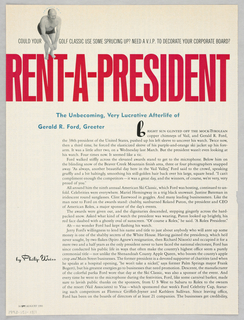 The design features a rectangle centered on a background of stock market listings excerpted from a newspaper. Three lines of type: You Can't Afford to Eat Anywhere Else [italics]/ Recession Prix Fixe Index [heavy sans serif]/ New York City July and August, 1991 [fine sans serif capitals] head the center space. The first and second lines are separated by thin horizontal bands. Ten lines showing menu choices are imprinted in the mid-section underneath. An additional narrow band separates this section from details (names, addresses, etc.) about the two advertised restaurants: on the left, Restaurant Florent; on the right, Restaurant Bellevues. The vertical lines separating the columns in the stock market background also serve to delineate the rectangle, left and right, and to separate the Florent and Bellevues sections.