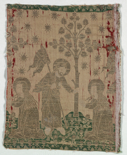 Christ and Mary Magdelene beneath a tree. Partial horizontal repeat including Mary Magdalene.