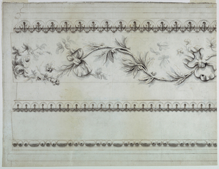 Several moldings with and without ornamentation. An ovolo, a leaf, and arrow leaf friezes occur. Bands, in one of which overlapping in another, a rising waved bough with leaves, seeds and flowers is shown; bow-knots are bound around the stem.