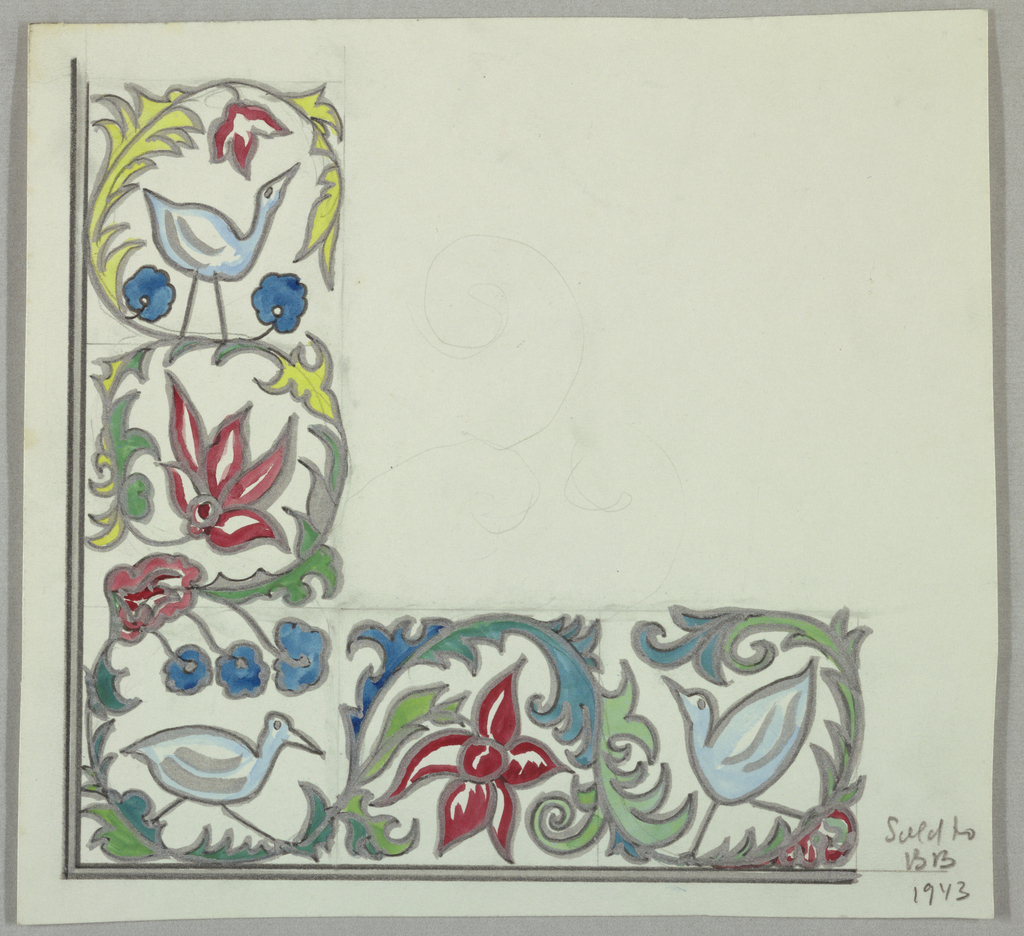 Corner design containing birds surrounded by rinceaux and flowers in gray, white, blue, and red.