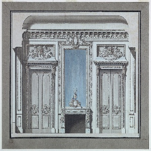 Drawing, Wall Elevation for a Salon with Mantelpiece