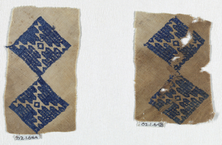 Two squares broceded in a geometric pattern in blue silk. fragment has been cut on the bias.