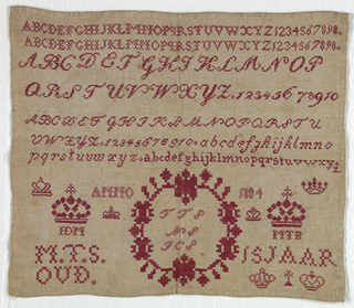 """Six alphabets, numerals, crowns, monograms.  Signed """"M.T.S. 15 years old.""""  All in red."""