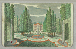 Peep-show depicting garden party