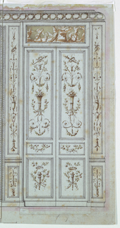 Elevation of double paneled doors and surrounding wall panels, all divided into compartments with candelabrum. The upper doors show a motif centered on a basket of flowers; the lower doors center on a torch and wreath. Above the door is a figural tablet and an entablature with a frieze of wreaths.