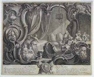 In a rocaille framing. An unidentified coat of arms bottom center.