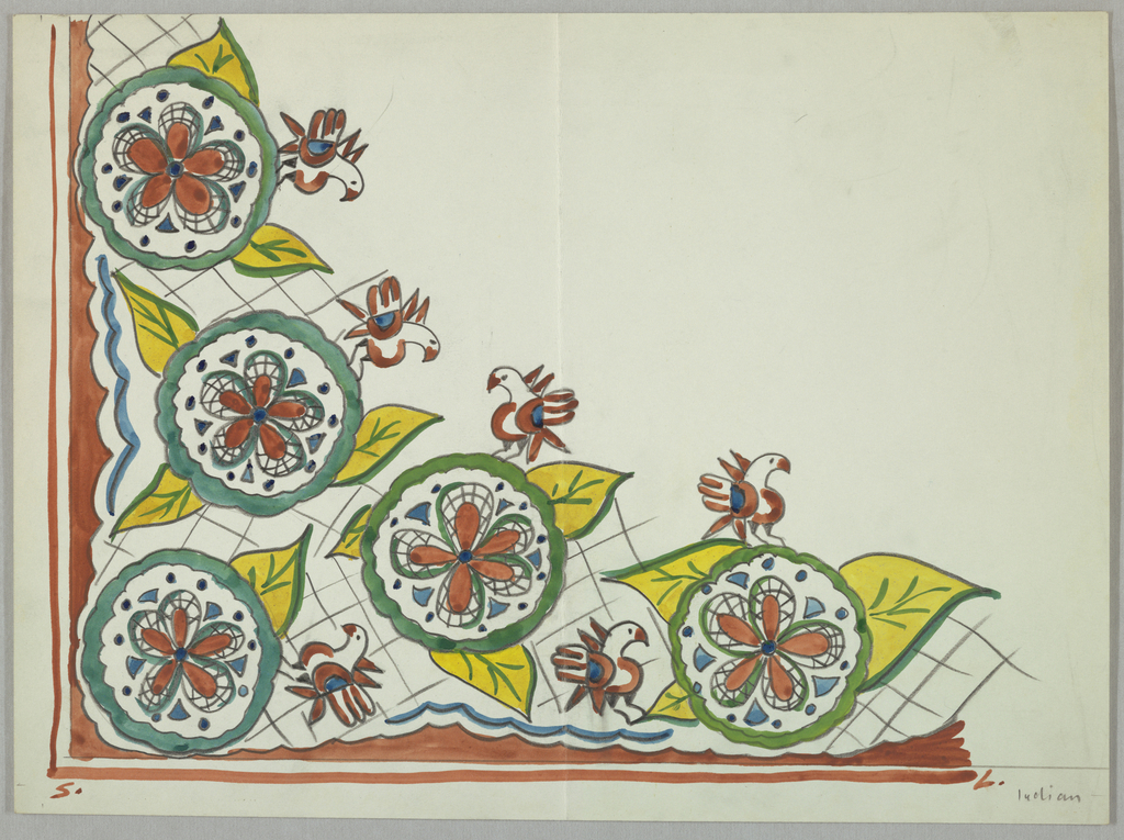 Corner design containing five scalloped circles with flowers and leaves, birds surrounded atop gridlike ground.
