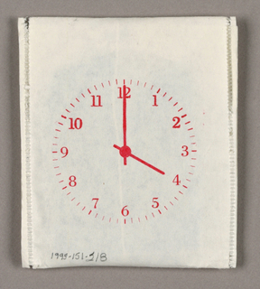 A clockface, with its hands set at 4:00, is imprinted in red on the recto of the teabag envelope package. The flap on the reverse is imprinted Knoll, also in red.