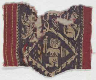 Purple band with undyed figures between red areas on either side.