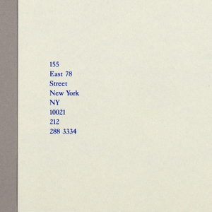 Serif-style type is used throughout the stationery ensemble.  Letterhead -  White tinted pale green on the recto and turquoise on the verso, the paper is imprinted Margaret/ Helfand/ Architects on the upper left; eight lines of type, comprising the address and telephone number, are imprinted on the lower left. A small incised square, aligned with these two groups of type, is centered at the left.  Envelope - The envelope color scheme is pale gray on the exterior and salmon colored on the interior. The incised square design of the letterhead is repeated on the verso, left; on the recto, it of course shows on the right, just below the flap. Margaret/ Helfand/ Architects, followed underneath by the address on five lines, are imprinted on the flap immediately above the square. When the letterhead is folded in thirds and inserted in the envelope, the turquoise paper is visible through the envelope's square.   Mailing label - The design is a variation of that on the letterhead. On the top left of the chartreuse rectangle, Margaret/ Helfand/ Architects is imprinted; the address and telephone number, identical to the letterhead except for NY, follow immediately underneath.  Business card - Next to an incised square, which is centered close to the left edge,  Paul/ Rosenblatt is imprinted. On the right, imprinted in italicized type, and occupying the full length of the card, are Margaret/ Helfand/ Architects, followed by the address and telephone number on seven lines,