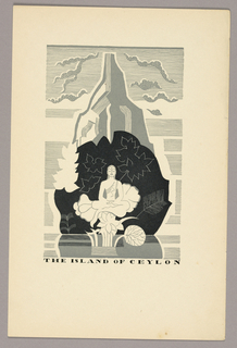 Portfolio print from Witold Gordon's illustrations for The Travels of Marco Polo depicting the island of Ceylon. Landscape view of a small mountainous island surrounded by calm water. At the base of the mountain, floating above a lotus flower and lilypad, a figure in meditation with legs crossed, possibly a bodhisattva or representation of the Buddha. Leafy plants surround the figure. Wispy clouds in the background.