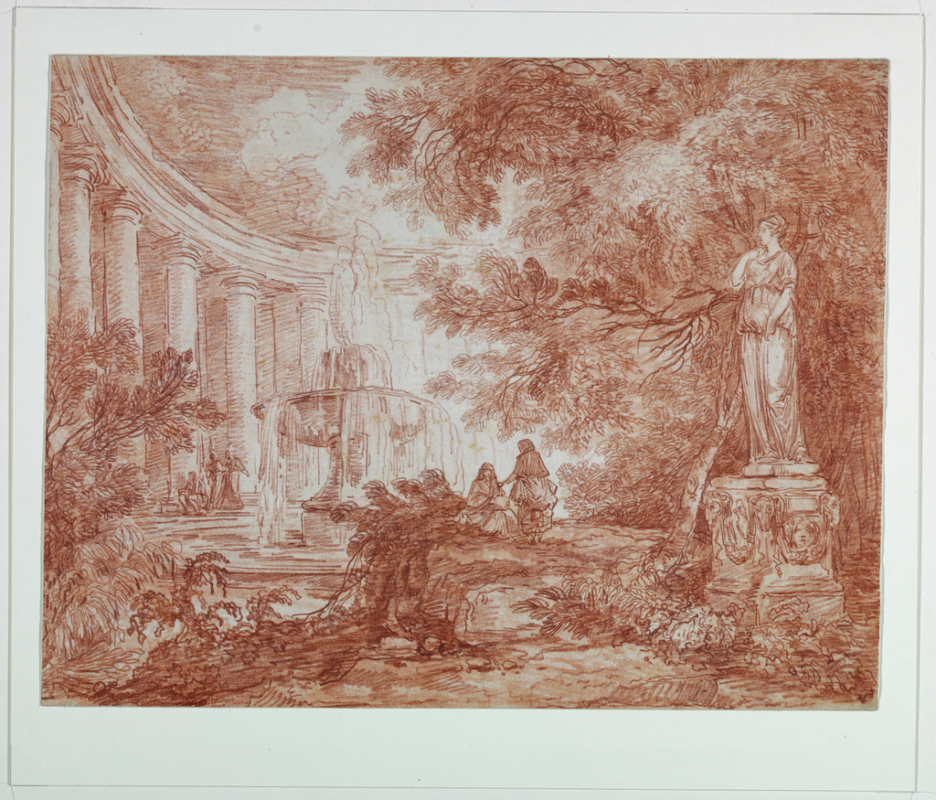 Drawing, Park with Fountain and Statue