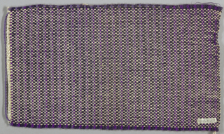 Firm fabric with fairly heavy yarns. Wool warp: two dark purple alternating with two of different light purples; white mercerized cotton weft.