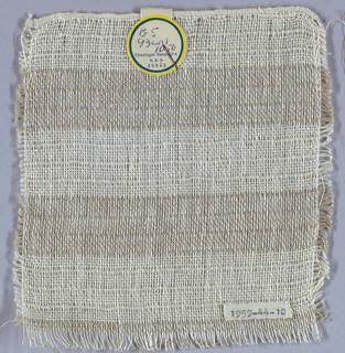 White and light brown warps and white wefts form an open weave of vertical stripes of brown and white enhanced at intervals by several warps packed close together.