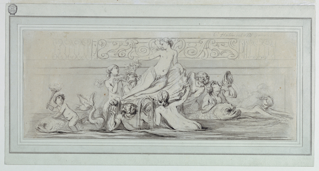 Horizontal format design for a fountain. The figure of Galatea is shown sitting in a shell, leaning upon her left arm. Three mermen and a naiad support the shell. Another naiad offers pearls and other gifts to Galatea. At left is a dolphin with a child sitting on it and carrying a  a lighted torch. At right, merman leaning upon a dolphin blows a horn shell he holds with his left hand, and a swimming naiad. The background is formed at right by a slightly sketched relief. Above are three sections of an iron railing.