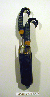 Four tined fork, waisted shoulder, baluster-shaped neck. Tapering horn ferrule with carved horizontal and vertical bands. Handle of black goat horn (Chamois, Latin name: Rupicapra rupicapra).