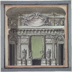 Elevation of a wall.  The center of the design is a chimney with a large mirror above. At the base of the mirror, standing on the mantel, are two statues of a child on a cloud, holding a torch.  The mirror is flanked by composite columns with which pilasters on either side of the doorway correspond.  Between the columns and the pilasters are two female statues.  There is a door opening on either side, at the edges of the sheet.   Above the doors, in arched over doors, are reliefs of seated figures among trophies of arms.   An entablature separates this section of the wall from an attic.  In the attic, at the center, two winged statues with trumpets open a curtain.  Decorative panels on either side of this grouping show figures with large oval mirrors/medallions.