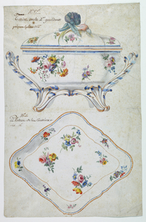 Drawing, Design for a Painted Porcelain Tureen and Tray