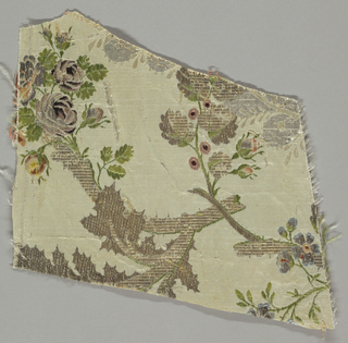 portion of a branch in metallics with polychrome flowers on white ground