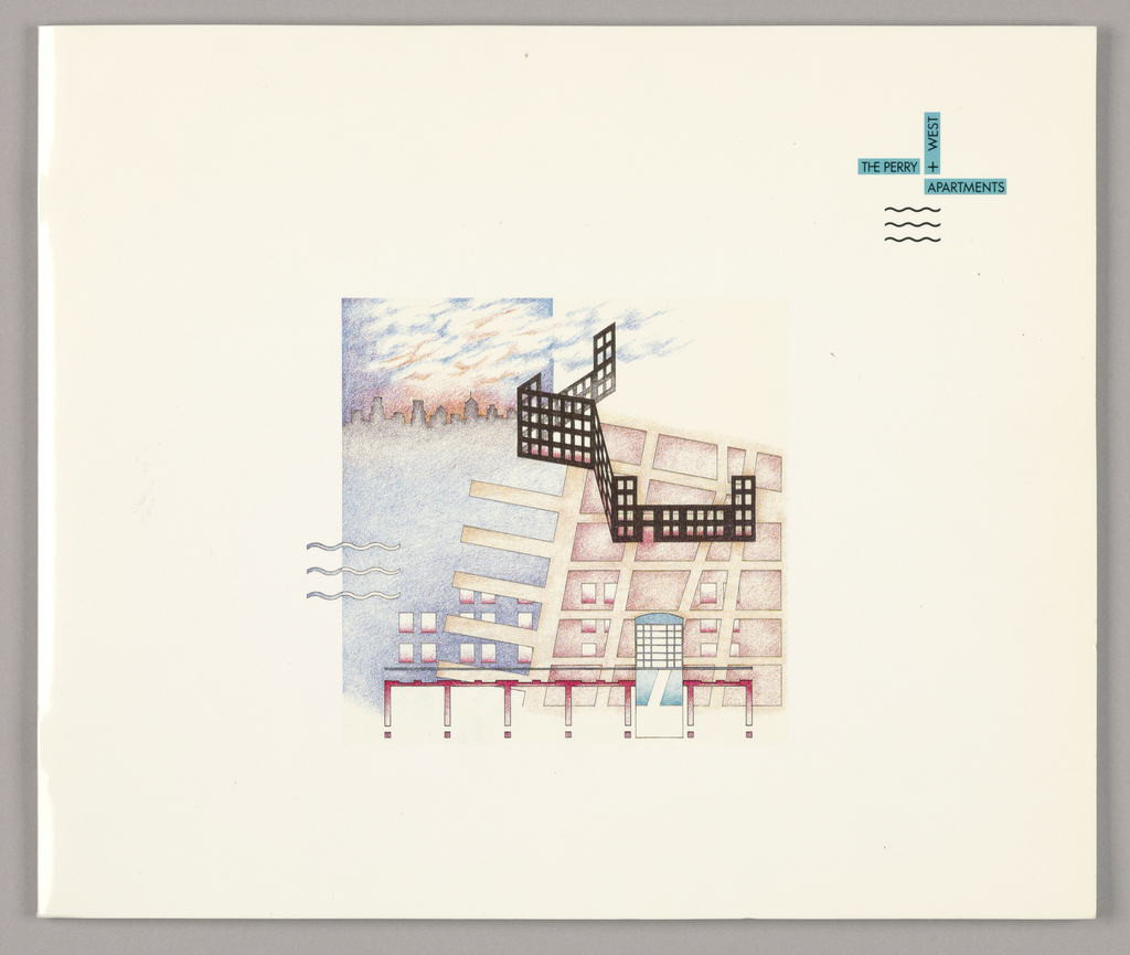 Front cover - On a background of glossy white cardboard, the design features a fanciful architectural rendering of the client's project against a background of New York skyline-and-sunset. Pale tones of reds and blues predominate and an angular, gate-like shape in a black checkerboard pattern, suggestive of windowed apartment construction, is superimposed in the right half. Jutting out of the square on the lower left are three parallel wavy lines. In the upper right-hand corner, the logo is imprinted, composed of turquoise-colored bars, one vertical, and at right angles, one horizontal, extending from the lower left, and a second, directly underneath the vertical, extending to the right; the horizontals are imprinted The Perry/Apartments and the vertical, + West, all in upper case sans serif type. The wavy line motif, repeated underneath in a smaller, black version, completes the logo.  Inside front cover - A full page version of the cover design in black outline is imprinted on a matte turquoise background.   Page 1, facing - The logo is repeated in the left half. The design format followed throughout the sixteen-page brochure is established on the right: initial phrases of paragraphs are highlighted by bars in yellow or blue; and interspersed on succeeding pages, architectural renderings in red and blue tones, accompanied by a few photographic reproductions, depict interior and exterior features of the project and its environs. Page numbers, imprinted in the lower left and right-hand corners, are backed by the wavy line motif in red.   The inside back cover consists of a glossy turquoise cardboard flap, extending about three quarters of the way across from the right edge. Marketing information is imprinted in white in widely separated paragraphs. Brochure Design/ M&Co, Written by/ Danny Abelson, and Architectural Renderings:/ Albert Taylor Hennings are imprinted in black just above the bottom edge. The flap reverses to a yellow matte surface, which continues on th