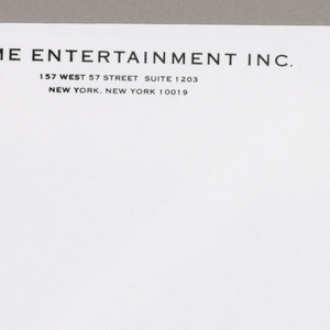 1993-151-187a, Letterhead - The design is comprised of a diagonal view of a three dimensional sign on posts in outline form, displaying Acme in capital letters, and centered at the top of the page. Acme Entertainment Inc, imprinted in smaller sans serif style capitals, is centered just underneath. The address and telephone numbers are imprinted in smaller type in a comparable position, just above the bottom edge. Immediately to the left, focused on these four lines, is an outline of a crook-necked table lamp, with short diagonal lines extending from the shade, signifying lamplight.  1993-151-187b, Envelope - The business name, in identically styled but larger type than on the letterhead, is imprinted in the top left hand corner; the address follows in smaller type just underneath. In the lower left hand corner, a suburban/ rural style mailbox in outline form, with its flag up and its post abbreviated, is labeled Acme , repeating the type format used on the letterhead.