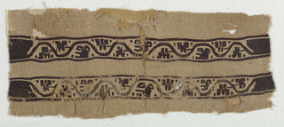 Pair of bands wirth curving vine and laft motif in brown.