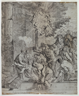 Grand volumns of the Corinthian order at left. In front, the Virgin and Joseph sit with the Child standing by their knees. The three Kings offer their gifts with their entourage behind them. Mountains in the background, the Star above surrounded by putti.