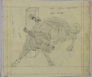 An abstracted dog whose body is made up of concetric lines and tiny cubes, turns to the right, as if pulling away from the chains shackling him to a partial wall. The notations around the drawing and the depiction of the dog's body suggest that this was a design for a mosaic.