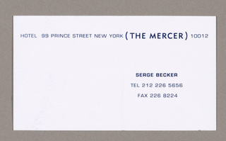 1993-151-147a - Folder - When the folder is closed, the navy blue front flap, extending from the left, overlaps the smaller black right-hand flap, allowing a narrow column of black to show. Within parentheses, The Hotel Mercer is imprinted on the folder in small white capitals, sans serif style, as follows: The Hotel, centered top to bottom, near the right edge of the blue flap; underneath, on the black flap, abutting the left edge and continuing on the same line as Hotel, Mercer. The center section, or back, continues in black. When the folder is opened, the left-hand flap (the inside of the blue cover) and the center section (the inside of the black back) are chartreuse, as is the flap which folds up from the bottom. Three lines of type, consisting of address and telephone information, are centered on the outside of the bottom flap. Next to the center section, on the purple inside flap (the reverse of the front cover black) and on the same line as The Hotel Mercer, in Soho) is imprinted.  The typography style of the folder, small sans-serif capitals, continues in the contents. The Mercer is always in parentheses and is larger and darker.     1993-151-147b - Letterhead - On white bond, hotel name, address and telephone numbers are imprinted on one line across, approximately one and a half inches from the top.  1993-151-147c - Label - The self-stick label is imprinted with the hotel name and address on one line across, about one-half inch from the top edge.  1993-151-147d - Business card - The hotel name and address are imprinted across, close to the top edge. Underneath, to the right, Serge Becker, in darker capitals, is imprinted, followed by two lines of telephone and fax numbers.