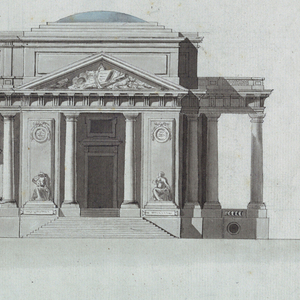 """Elevation of a large horizontal building.  Entrances are in domed pavilions at either end of the building.  Attributes of the Arts are shown in triangular pediments above the entrances.  Four statues of allegorical women flanking the entrances represent possibly the Muses.  The pavilions are connected by a colonnade of embedded Doric columns and a short top story.  In each interval (between the columns) are a two-story window and a regular window.  Circular windows are placed at the basement level, below the colonnade.  Below the rendering are the rule """"12 Toises"""" and the scale """"48 modules.""""  Inscription on verso."""