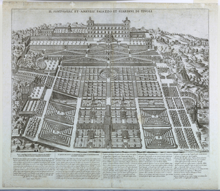 Print, Isometric view of the Gardens and Villa d'este at Trivoli