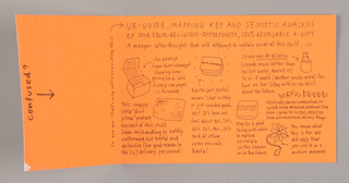 """1993-151-32a, Box interior - Beginning at the top of the box lid and continuing almost to the bottom of the box's back section, a quotation from Kurt Vonnegut's novel, """"Slaughterhouse Five,"""" is imprinted in white sans-serif type. The source of the quotation appears on one line at the end.  1993-151-32b, Box liner - Wrapped around the left side and lower back interior sections, and creased at their intersection, is an orange Day-Glo-type cardboard  insert. Imprinting on the side section is parallel to the left edge (the viewer turns the object to read): just next to the left edge, confused? in a hand-drawn-styled bold lower case font; directly underneath, centered, an arrow, pointing downward; just before the crease, in the same style font, but fine, So are we. That's why we're providing this. A curved arrow points in the direction of the narrative imprinted on the back section, headed, in capitals, UR-Guide, Mapping Key and Semiotic Analysis/ of Your Equal-Religious-Opportunity, 100% Recyclable X-Gift. Line illustrations of the box contents, accompanied by brief descriptions, comprise the remainder of the design.  1993-151-32c, Flower squirter - A ruffle-edged fabric flower, with petals shading from bright to pale blue and stamens of brown plastic, is attached to a squirter. The red tip at one end of the tubing, inserted in the center of the flower, becomes the pistil; at the other end is a red bulb, which when squeezed, spurts water.   1993-151-32d, Toilet water - A plastic bottle with a black stopper contains water tinted a pale orange. A white label, pasted inside, in imprinted across the center in sans-serif black capitals, Optimism, followed by M&Co in lower case, near the bottom edge.  1993-151-32e, Soap - A cake of soap, beige and curve-edged, like the case containing it, is incised in the center, Truth, in capitals.  1993-151-32f, Soap case - A silver-colored metallic case, with curved edges like those of the soap within, is imprinted across the center Basta"""