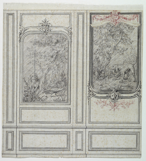 Two bays are shown, each containing a representation of a hunting dog and a bird in a setting of trees. A single suggestion is made for the dado and the pilaster stripes. But subdivision in three panels is suggested at left, in two panels as the result of a correction at right. Three panels had originally been suggested at right also.