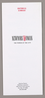 Presskit Folder, New York Woman: The Power of the City