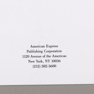 1993-151-46a - The press kit, when closed for presentation, is folded in thirds, and consists of a front cover, mid-section and back cover; however, to display the view of both the exterior and interior overall designs, the object must be in the opened position.   Exterior - Beginning left of center and extending to the right edge is a color photograph of a city street, deliberately distorted to exaggerate the foreground, over which a transparent, enlarged depiction of a woman's lower legs, ending with her feet in high heels, is superimposed.  Streaks of light shoot across the upper part of the view. Close to the top edge of the front cover, New York, in large yellow-orange serif-style type, with no space between New and York, is positioned between the fold and the middle of the page. (This font and format are repeated throughout, wherever the phrase, New York, appears.) Beginning at the left edge of the back cover is a full length color photographic view of two women seated at a restaurant table, their heads close together and mouths open in laughter; they appear to be engaged in animated conversation. An excerpt from an abstract painting is placed between these two views. (The restaurant scene and a narrow left-hand section of the excerpted painting become the right-hand flap when the kit is folded.) Interior - A flap at the left edge shows a richly colored photographic view of flowers and intertwined ribbons, predominantly in shades of pink and yellow, with scattered green leaves. On the reverse side of the flap, which can be opened only partway, and extending to the center, is a black and white photomontage of the Duffy Square Tkts Booth; Come and Meet/ Those Dancing Feet is imprinted on the diagonal above a sign, 42nd Street, in shadowed type. In the center section, overlaying the lower third of the page, a pocket at the bottom edge shows a view, also in black and white, of four vaudeville-type performers, posed on a bridge against a city skyline. To the right 