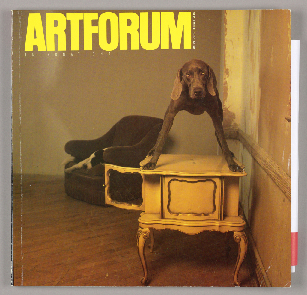 "The cover design, based on a color transparency by the photographer, William Wegman, is reproduced in tones ranging from dark brown to orange-pink. The principal feature of the design, situated in the right half of the page, is a dog of the Weimaraner breed, with a brown, smooth-textured coat; his head is slightly tilted to the left, he stares directly at the viewer, and his wide-opened eyes and floppy ears are highlighted. He stands with his legs wide apart atop a small chest fabricated in the Louis XVth revival style; the side door of the chest, open on the left, is gilt-trimmed, as are the curved legs and front panel. An easy chair, upholstered in fabric, perhaps velvet, and trimmed at bottom with fringe, is placed in the center left background. There is a hazy, partial view of a black and white dog stretched out in the chair. The painted walls are scraped on the right, as if the paint has worn off or a new color sample has been applied. The parquet floor is scratched in several places.   The cover refers to the term ""dogumenta,"" a pun on Documenta 8, the international art show in progress at the time the present Artforum was issued. (See ""The Tale That Wags The Dog"")"